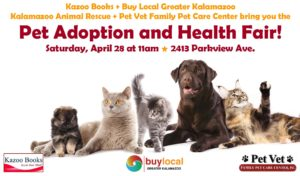 Pet Adoption and Health Fair @ Kazoo Books